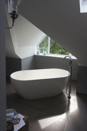 Contemporary Master Bathroom with Kohler purist floor mount tub filler in chrome, Victoria+ albert free standing tub, Bathtub