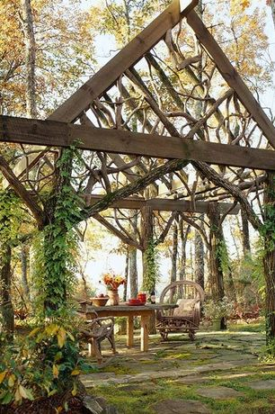 Rustic Landscape/Yard with Pathway, Around the bend willow furniture traditional chair, Trellis