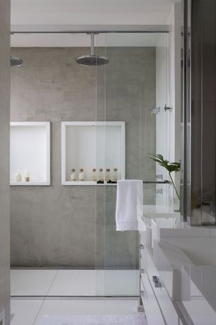 Contemporary Master Bathroom with European Cabinets, Concrete, Rain shower, Master bathroom, Double sink