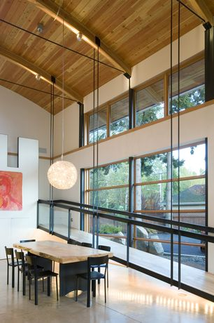 Contemporary Dining Room with Concrete floors, Pendant light, flush light, Exposed beam, Cathedral ceiling