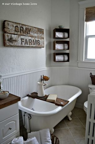 Cottage 3/4 Bathroom with Wood counters, High ceiling, Red envelope personalized bath caddy, Raised panel, Wainscotting