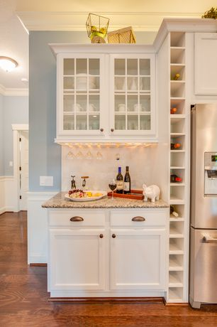 Traditional Kitchen with Inset cabinets, Subway Tile, Glass panel, Flat panel cabinets, One-wall, Crown molding