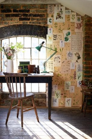 Rustic Home Office with picture window, Restoration hardware - english windsor side chair, Spindle back chair, interior brick
