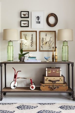 Eclectic Hallway with Ballard Designs Florence Indoor/Outdoor Rug, Butler mountain lodge console table, Concrete tile