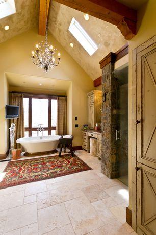 Country Master Bathroom with Flat panel cabinets, specialty door, specialty window, can lights, frameless showerdoor, Bathtub