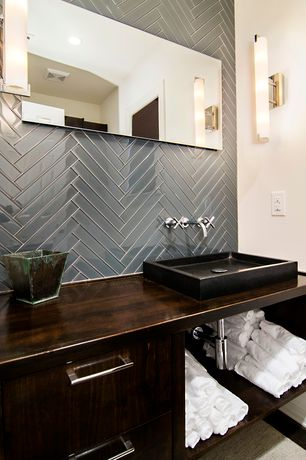 Contemporary Master Bathroom with can lights, Tile bar - has grey 2x8 polished glass herringbone tile, Carpet, Wood counters