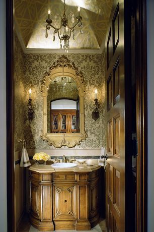 Traditional Powder Room with High ceiling, Wall sconce, Chandelier, Powder room, Inset cabinets, Limestone counters