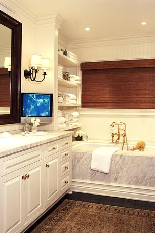 Traditional Full Bathroom with Simple marble counters, Hardwood floors, Wainscotting, Simple Marble, Master bathroom, Flush