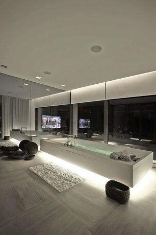 Contemporary Master Bathroom with Arizona Tile Linac Vein Cut Marble, Master bathroom