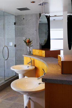 Modern Master Bathroom with Quartz counters, Allied brass waverly place ceiling hung mirror, Steam showerhead, Pedestal sink