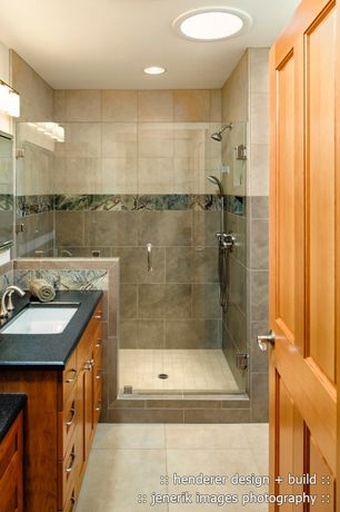 Craftsman 3/4 Bathroom with Stone Tile, Marazzi river bed nile gray 12 in. x 24 in. ceramic floor and wall tile, Flush