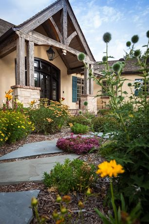 Country Front Door with Transom window, Slate flagstone pavers, Pathway, French doors, Trellis, exterior stone floors