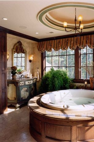 Traditional Master Bathroom with drop in bathtub, partial backsplash, Flat panel cabinets, Standard height, Undermount sink