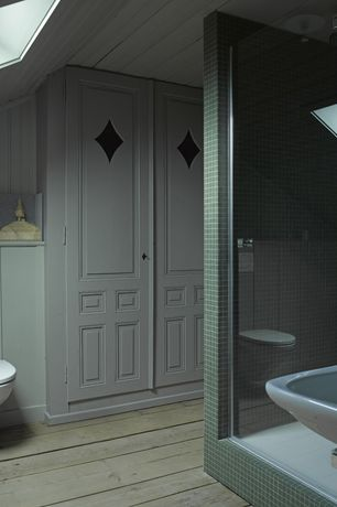 Cottage 3/4 Bathroom with Glass mosaic tile backsplash green, specialty door, frameless showerdoor, Wall mounted sink