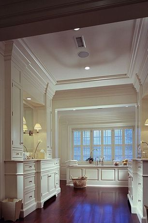 Master Bathroom with Swing arm wall lamp, Paint, Crown molding, Undermount sink, Master bathroom, Hardwood floors, can lights