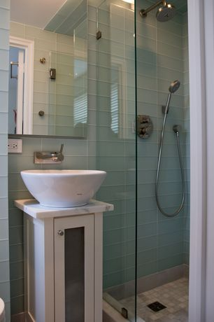 Contemporary 3/4 Bathroom with Vessel sink, Glass panel, wall-mounted above mirror bathroom light, three quarter bath, Flush