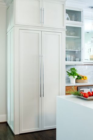 Contemporary Kitchen with Simple marble counters, Pendant light, Hardwood floors, Glass panel, Calacatta carrara, Flush
