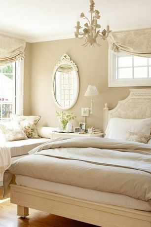 Traditional Master Bedroom with Hardwood floors, Chandelier, Window seat, Southport 5-light white floral chandelier