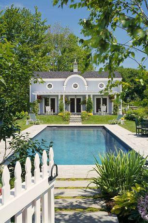 Traditional Swimming Pool with Pathway, Gate, Fence, French doors, exterior tile floors