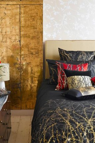 Asian Master Bedroom with Hardwood floors, interior wallpaper, Built-in bookshelf