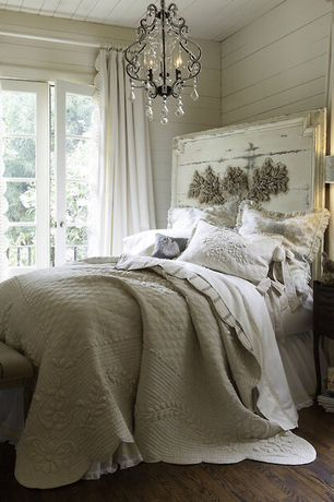 Traditional Guest Bedroom with Chandelier, Pottery Barn Paige Crystal Chandelier, Hardwood floors, French doors