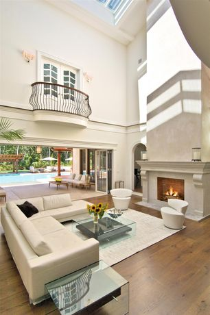 Contemporary Great Room with High ceiling, Hardwood floors, Cement fireplace, French doors, Wall sconce, Skylight