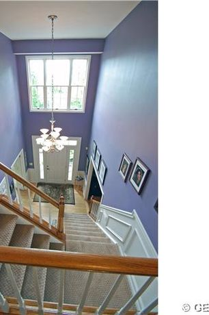 Traditional Staircase with Carpet, High ceiling, Wainscotting