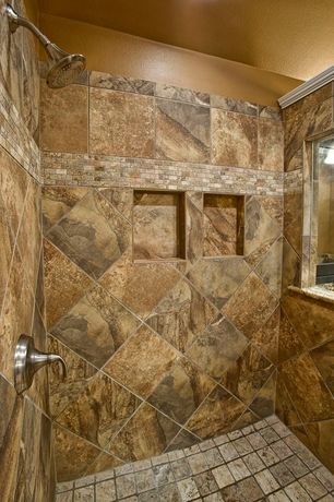 Rustic Master Bathroom with stone tile floors, Shower, frameless showerdoor, Ann sacks amativo square field, Standard height