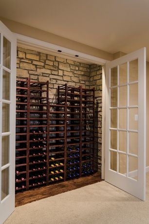Traditional Wine Cellar with Hardwood floors, French doors, Standard height