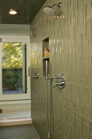 """Contemporary Master Bathroom with Daltile Molten Glass 4 1/4"""" x 4 1/4"""" Multi-Colored Wall Tile in Rain Forest, specialty door"""