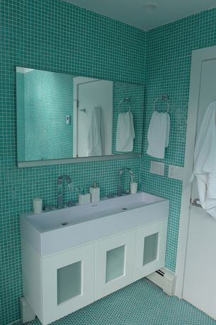 Contemporary Master Bathroom with Farmhouse sink, penny tile floors, Flush, Glass panel, Master bathroom