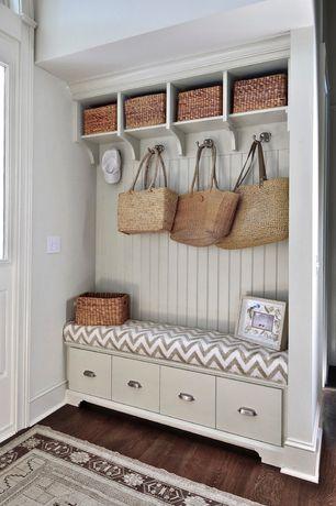 Contemporary Entryway with Pottery Barn Savannah Utility Basket, Ballard Design Beadboard Entryway Cabinets Set of 3