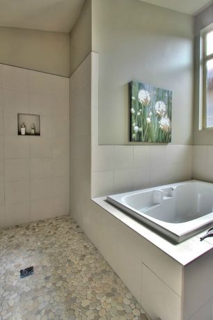 Contemporary Master Bathroom with Standard height, slate floors, picture window