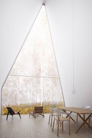 Modern Great Room with Hardwood floors, Pendant light, Built-in bookshelf