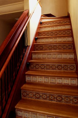 Eclectic Staircase with Standard height, curved staircase, Hardwood floors