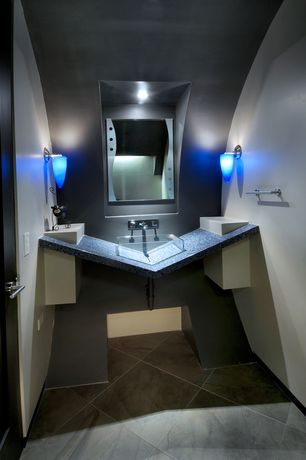 Modern Powder Room with Vessel sink, Standard height, specialty door, stone tile floors, Powder room, Wall sconce, Paint 1
