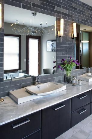 Contemporary Master Bathroom with European Cabinets, French doors, Arteriors Breck Metal Chandelier, Pendant light, Flush