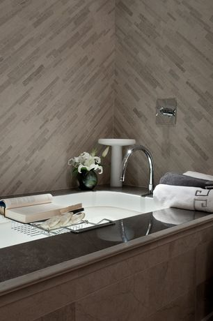Contemporary Full Bathroom with MARAZZI - River Bed Nile Gray 12 in. x 24 in. Ceramic Floor and Wall Tile, High ceiling