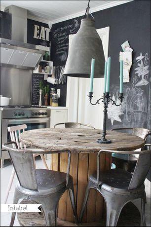 Eclectic Dining Room with Crown molding, Restoration Hardware Antiqued Metal Funnel Pendant, Pendant light, Hardwood floors