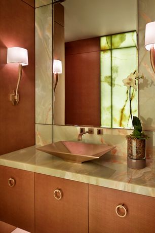 Modern Powder Room with Stone Source Green Onyx, Onyx Tile, Onyx counters, Powder room, Paint, Standard height, Flush