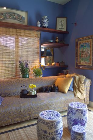"Eclectic Living Room with Primula cast iron tea pot, High ceiling, ""heirloom"" blue & gray ceramic garden stool 18"""