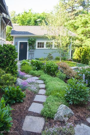 Cottage Landscape/Yard with Pathway, Glass panel door, Fence, 12 in. x 12 in. Pewter Concrete Step Stone, exterior awning
