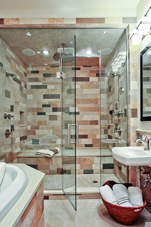 Modern Master Bathroom with Wall mounted sink, frameless showerdoor, Rain shower, Corian counters, Master bathroom