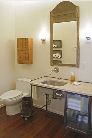 Eclectic Full Bathroom with three quarter bath, Glass panel, Travertine counters, Inset cabinets, Hardwood floors