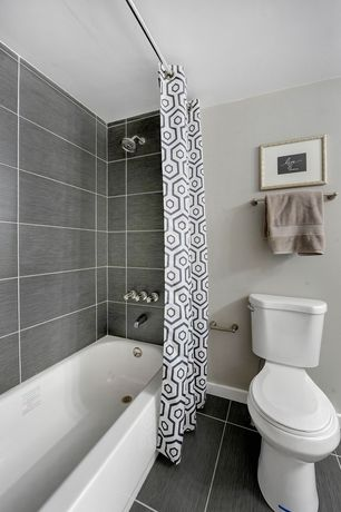 Contemporary Full Bathroom with tiled wall showerbath, Classic 3-Wall Alcove White Tub, specialty tile floors, High ceiling