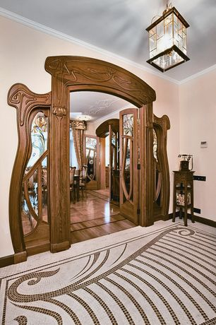 Entryway with Crown molding, Standard height, French doors, Pendant light, Hardwood floors