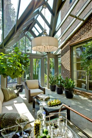 Modern Porch with Skylight, Modern glass ceiling, Fiddle leaf fig, Screened porch, Exposed brick wall, exterior stone floors