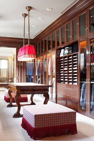 Traditional Closet with Built-in bookshelf, Crown molding, Pendant light, Carpet
