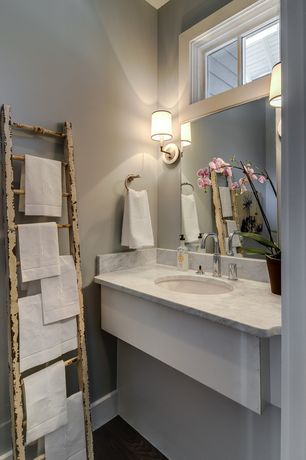 Traditional Powder Room with Powder room, Undermount sink, Wall sconce, Ms international - calacatta classic marble