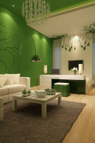 Contemporary Living Room with Leather sectional sofa, Paint 1, Paint, Chandelier, Contemporary metal floor lamp, Mural